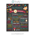 Woodland Birthday Chalkboard, Woodland birthday,birthday chalkboard,first birthday chalkboard,first birthday,chalkboard,chalkboard sign,decorations