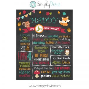 Woodland Birthday Chalkboard