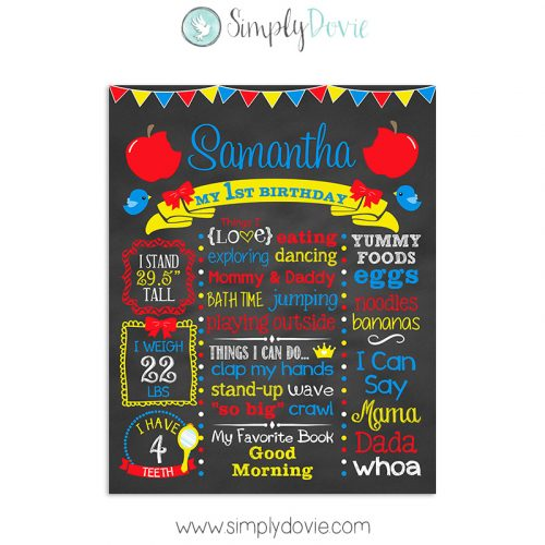 Snow White Princess Birthday Sign. Snow White Birthday Chalkboard, Snow White Birthday