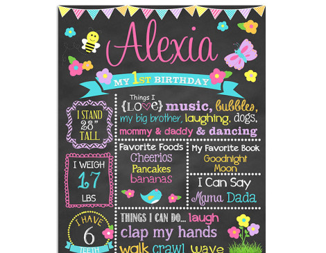 spring,birthday chalkboard,birthday,chalkboard,poster,sign,favorite things,party theme,party,decorations