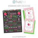 Strawberry Birthday Chalkboard, Strawberry Birthday Invitation, Strawberry Thank You Card