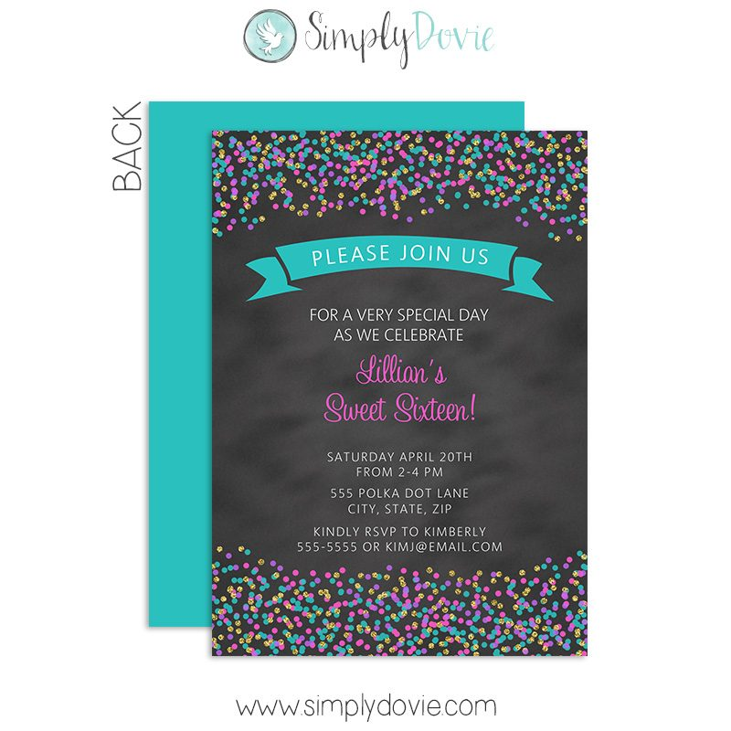 sprinkles sweet 16 birthday invite