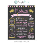 Sweet Princess First Birthday Chalkboard