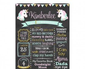 Magical Unicorn Birthday Chalkboard Poster