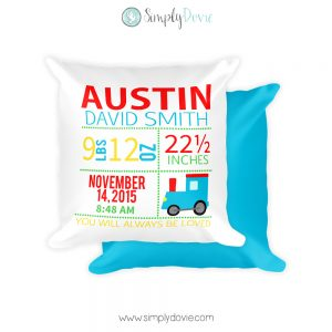 Personalized Train Newborn Birth Stats Pillow, Birth Announcement Pillow, Train, Transportation, Nursery Pillow