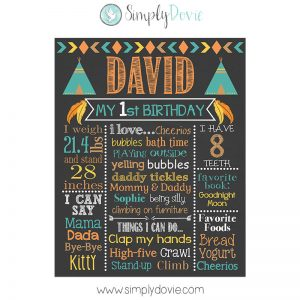 Tribal Birthday Chalkboard Decoration
