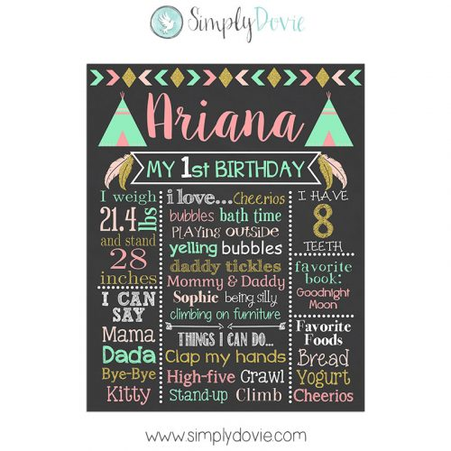 Girl Tribal Birthday Chalkboard