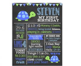 Turtle Birthday Chalkboard Boy