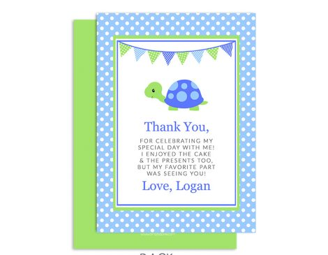 TurtleThank You Card Boy