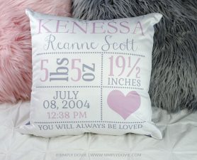 Heart Birth Announcement Pillow - Birth Stat Pillow