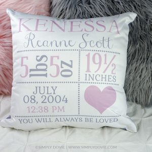 Personalized Heart Newborn Birth Stats Pillow, Birth Announcement Pillow, Heart Nursery Pillow, Girl