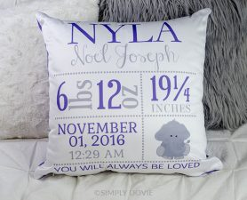 Baby Elephant Birth Announcement Pillow - Birth Stat Pillow