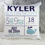 Nautical Whale Newborn Birth Stats Pillow - Birth Announcement Pillow