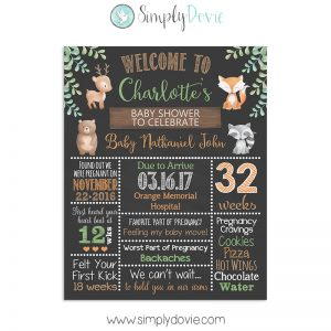 Woodland Baby Shower Sign Watercolor