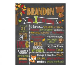 Woodland Bear Birthday Chalkboard