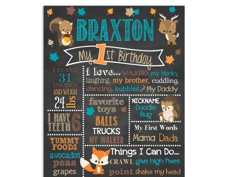 woodland deer birthday chalkboard