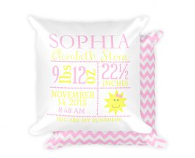 You are my sunshine birth stat pillow
