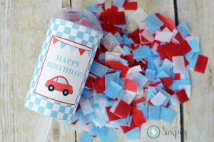 little red car,birthday,confetti poppers,party decorations,birthday party,theme