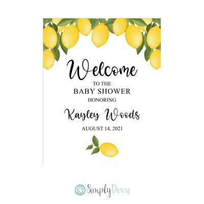 Lemon Baby Shower Welcome Sign